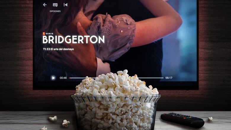 Bridgerton show on a screen with popcorn
