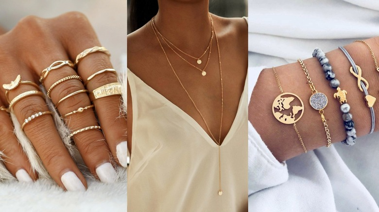 Three different SHEIN best-selling jewelry styles