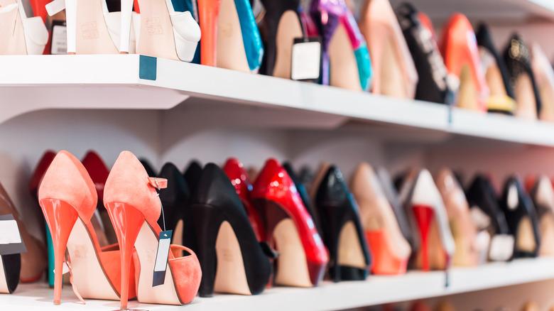 High heels on shelves