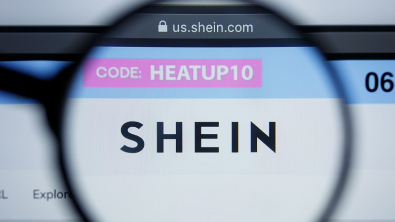 Shein logo on website with magnifying glass
