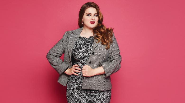 Woman modeling flattering business attire