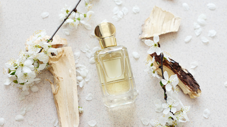 Perfume with white summer flowers