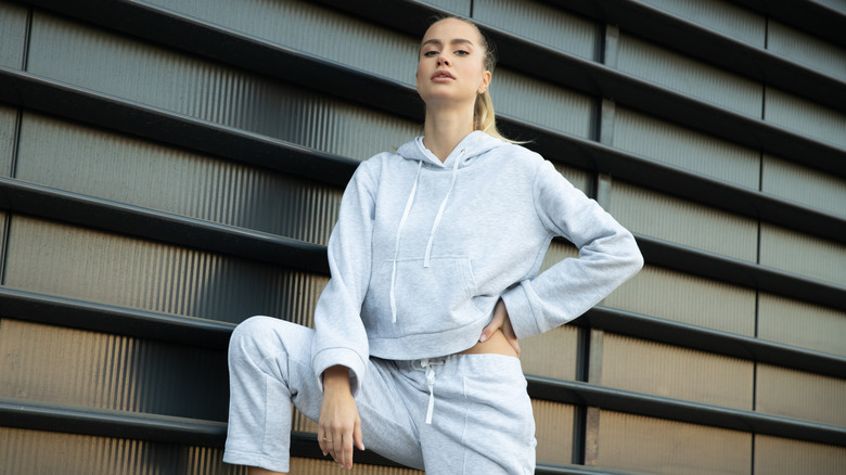 woman sweatsuit gray
