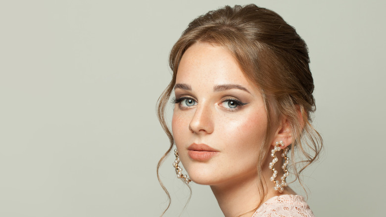 young woman with low updo