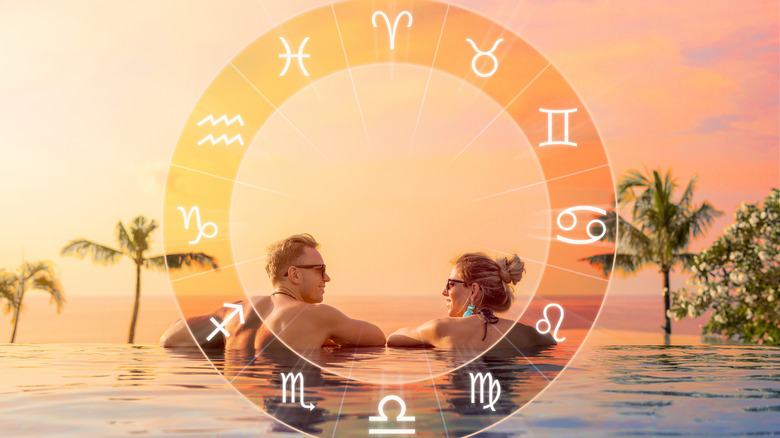 Zodiac travel, with couple in pool
