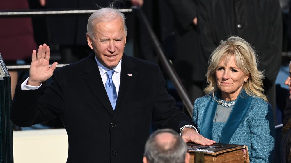 Joe Biden, Jill Biden as Joe Biden is sworn in as president