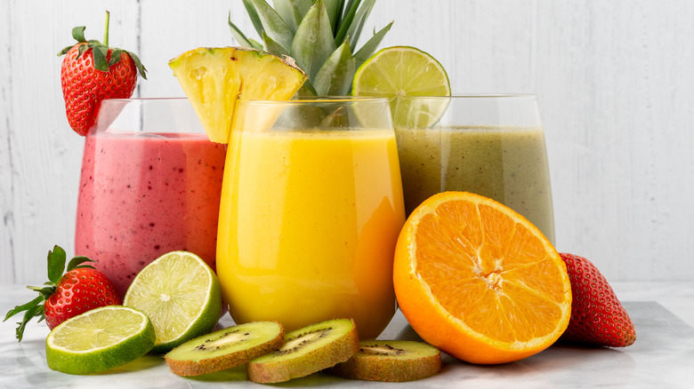 Fruit smoothies and fruits