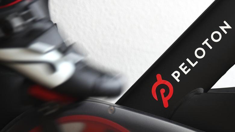 Close-up of Peloton bike pedal