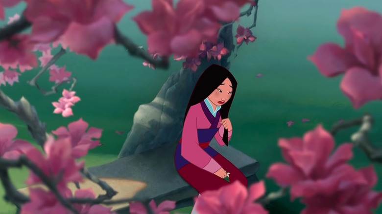 Mulan plays with her hair