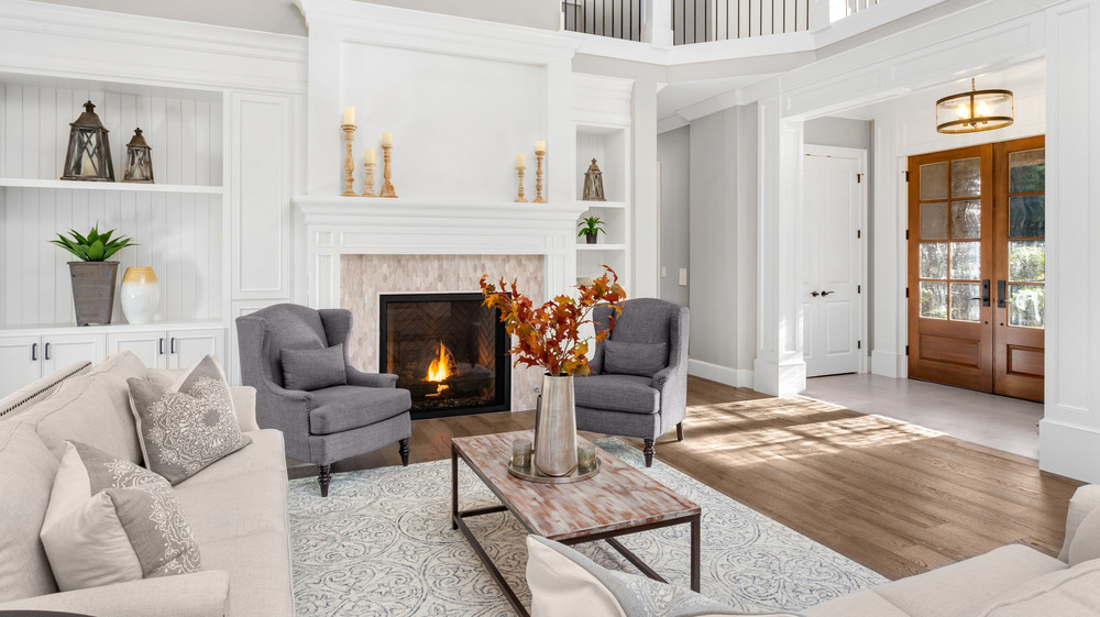 fireplace in room with neutral tones