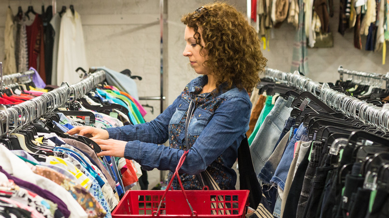 Woman shopping at a thrift store