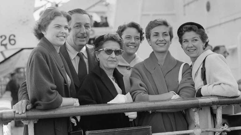 Walt Disney and family on boat