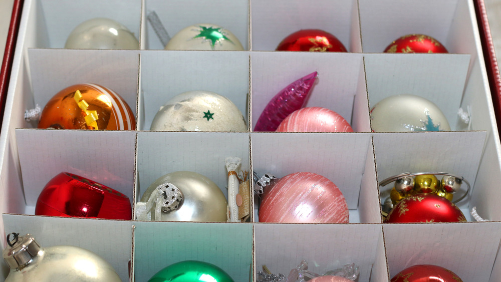 Christmas ornaments in a box