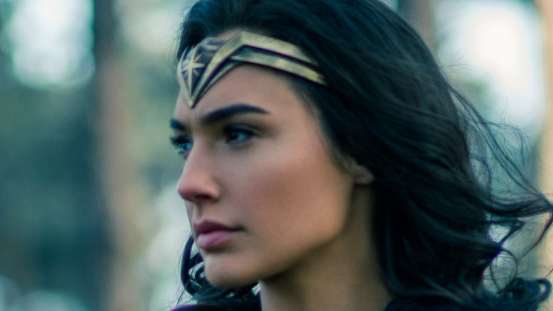 A thoughtful looking Gal Gadot in character as Wonder Woman