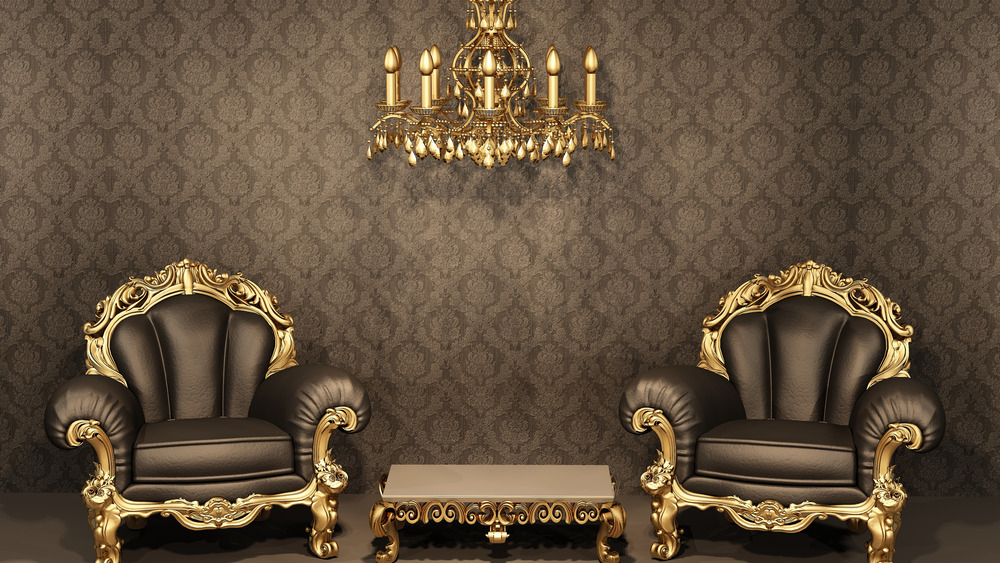 ornate chairs and chandelier