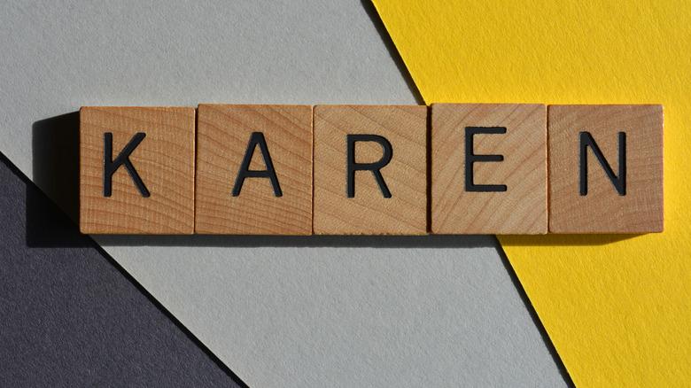 letter tiles spelling out Karen
