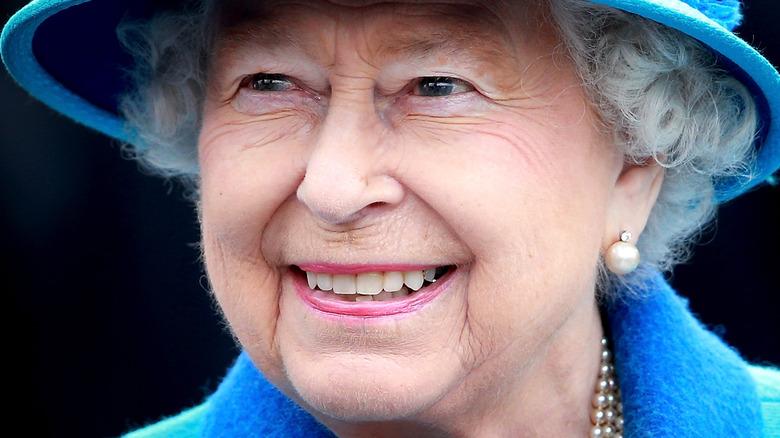 Queen Elizabeth blue hat