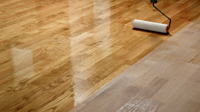 wood flooring with roller
