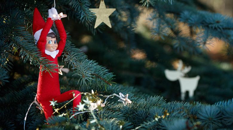 Elf on the shelf in a tree