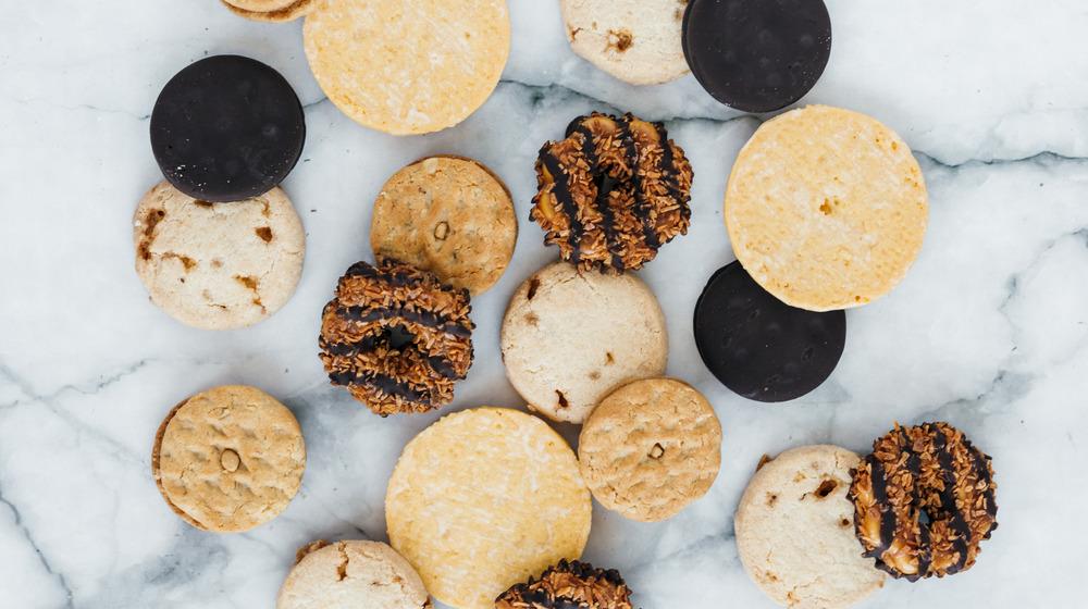 Variety of cookies on marble.