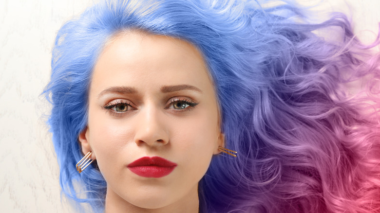 Woman dyed hair blue and pink