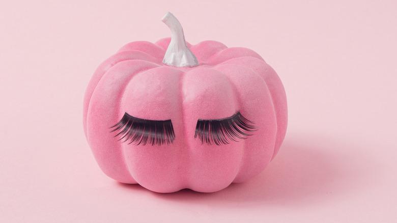 Pink pumpkin with false eyelashes