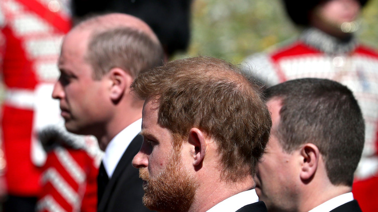 William and Harry walking in Prince Philip funeral
