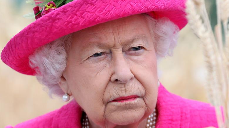 Queen Elizabeth wears a pink suit.