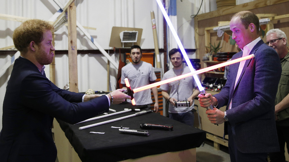 Princes William and Harry lightsabers