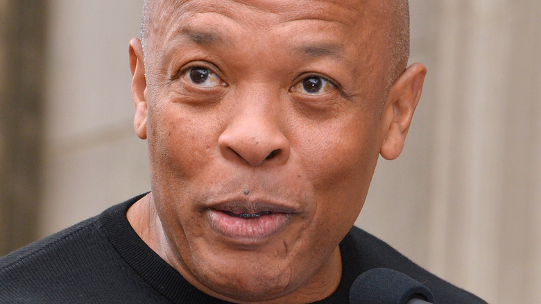 Dr. Dre speaking at event