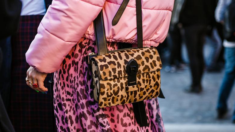 woman wearing leopard print