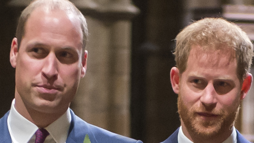 Prince William and Prince Harry stand together