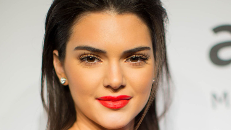 Kendall Jenner poses with a perfect red lip.