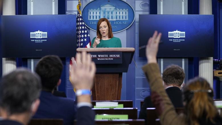 Jen Psaki speaking at White House press briefing