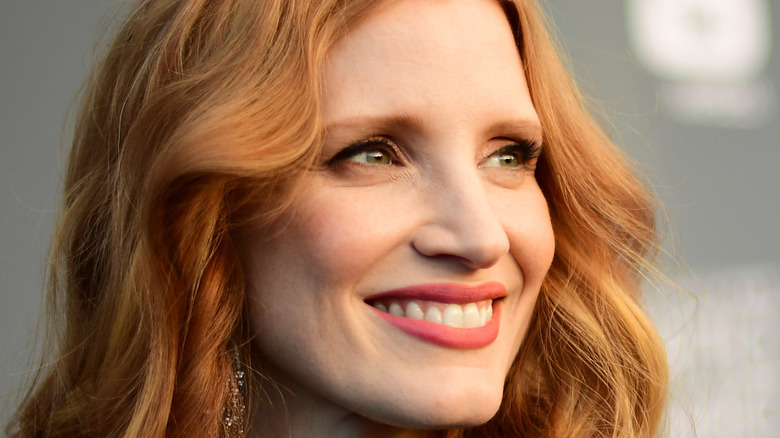Jessica Chastain smiles on the red carpet