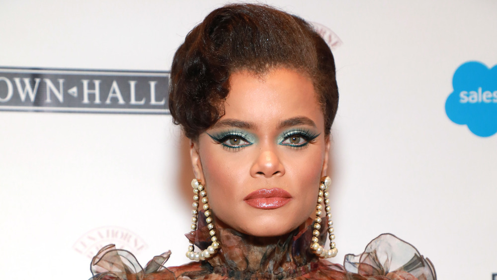Andra Day looks serious at event