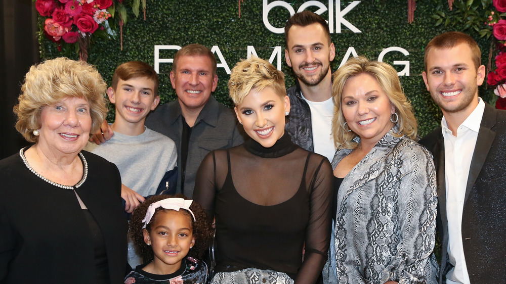 The Chrisley family at an event at Belk in 2019