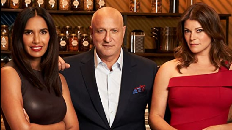 Padma Lakshmi, Tom Colicchio, and Gail Simmons are judges for television's Top Chef