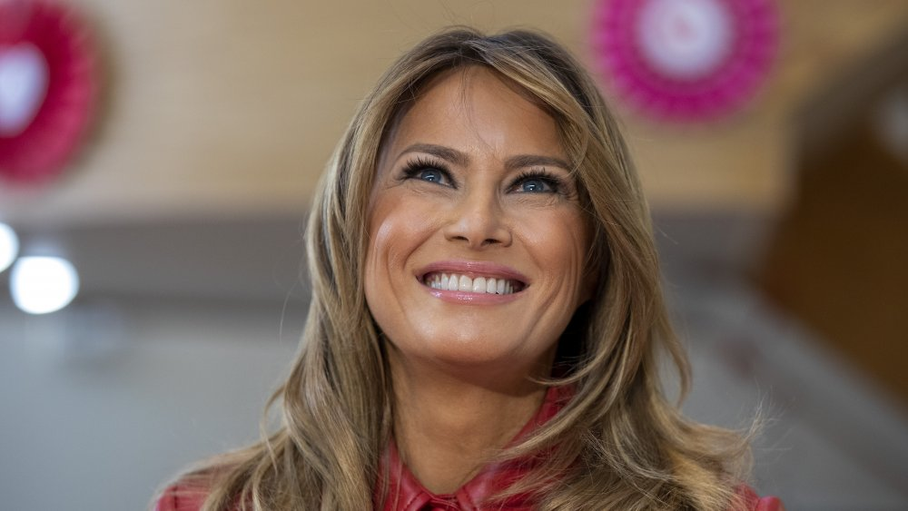 Melania Trump close-up, wearing red