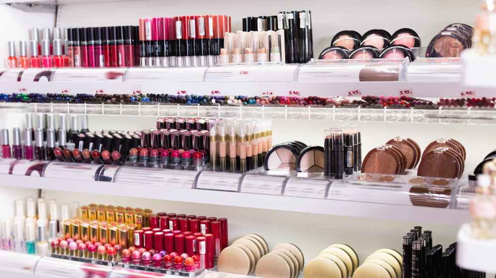 Shelf of makeup products