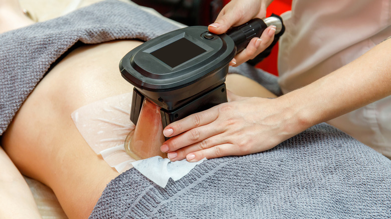 Person getting the CoolSculpting procedure done