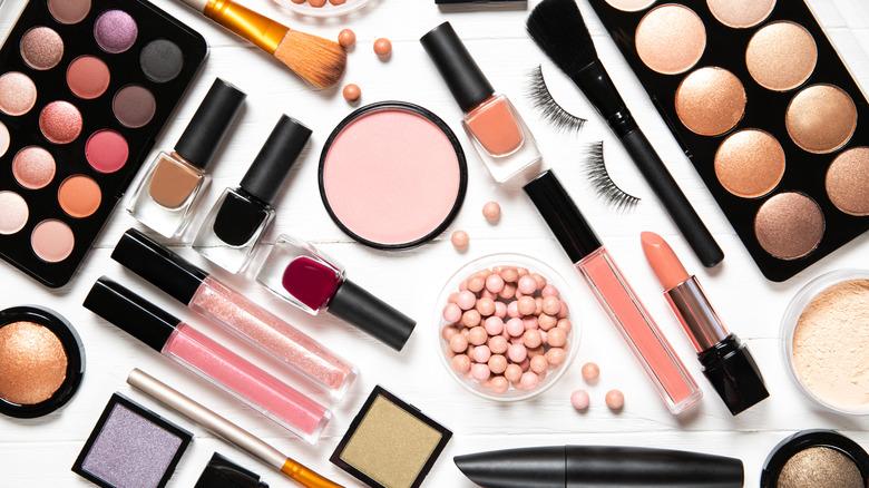 Makeup products like lipstick and eyeshadow