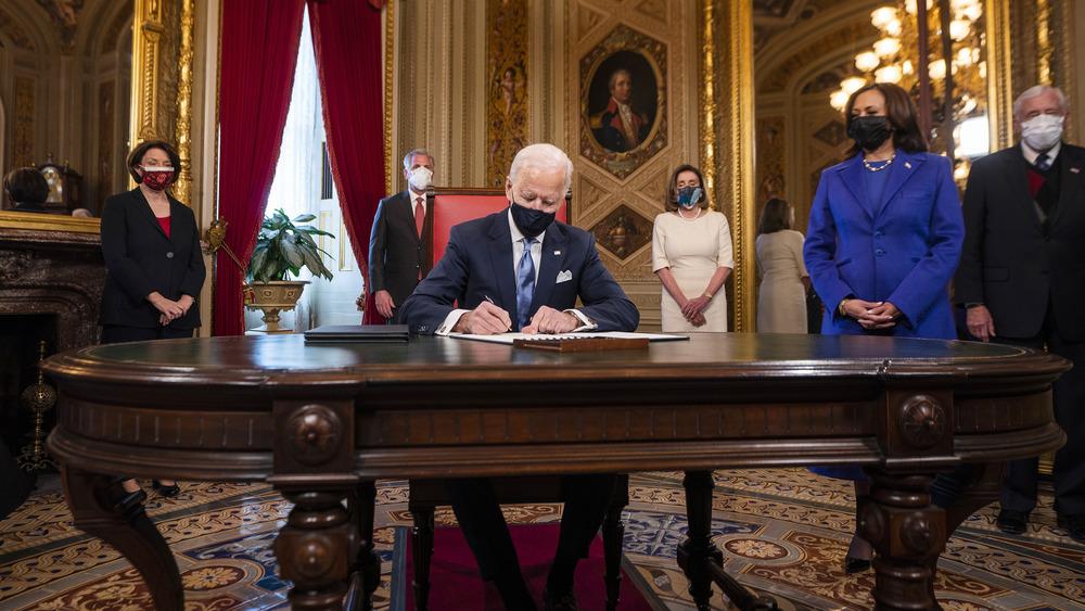 Biden signing inauguration declaration
