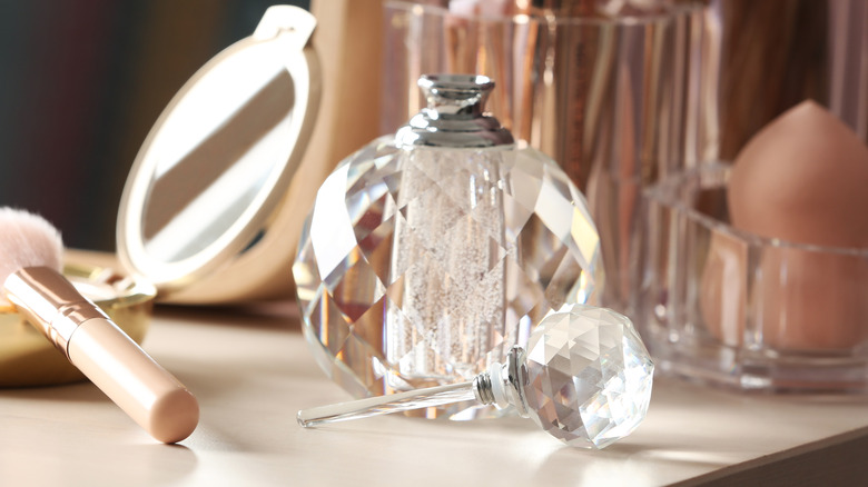 Crystal perfume bottle on vanity