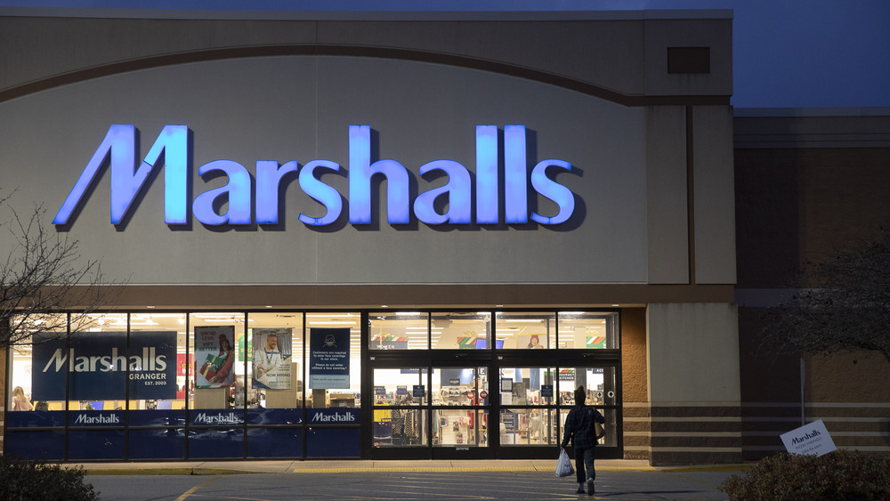A Marshall's storefront at night