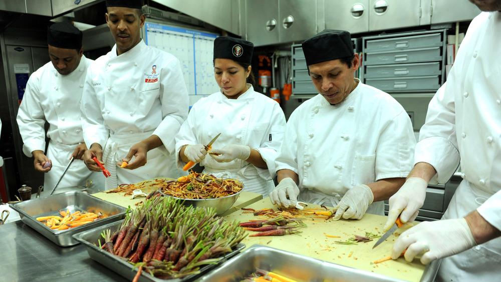 White House kitchen staff preparing