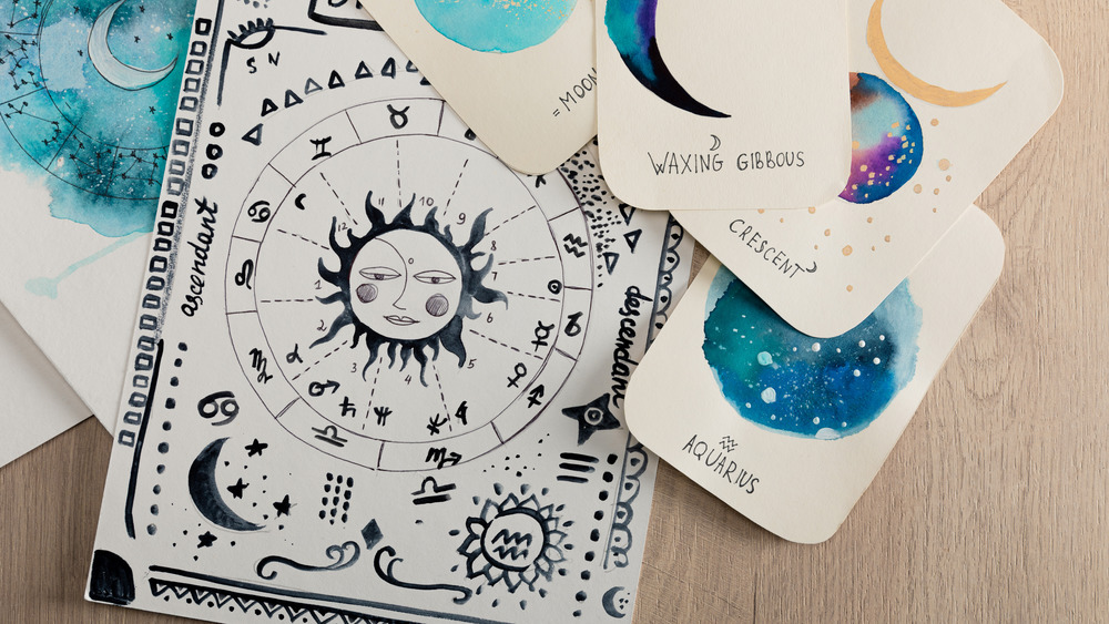 Painted horoscope cards