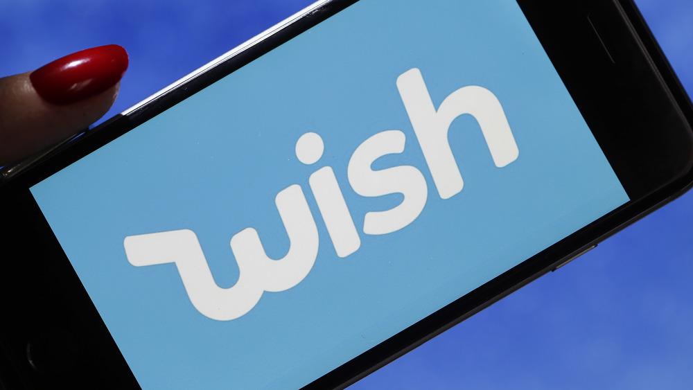 Phone with Wish app displayed