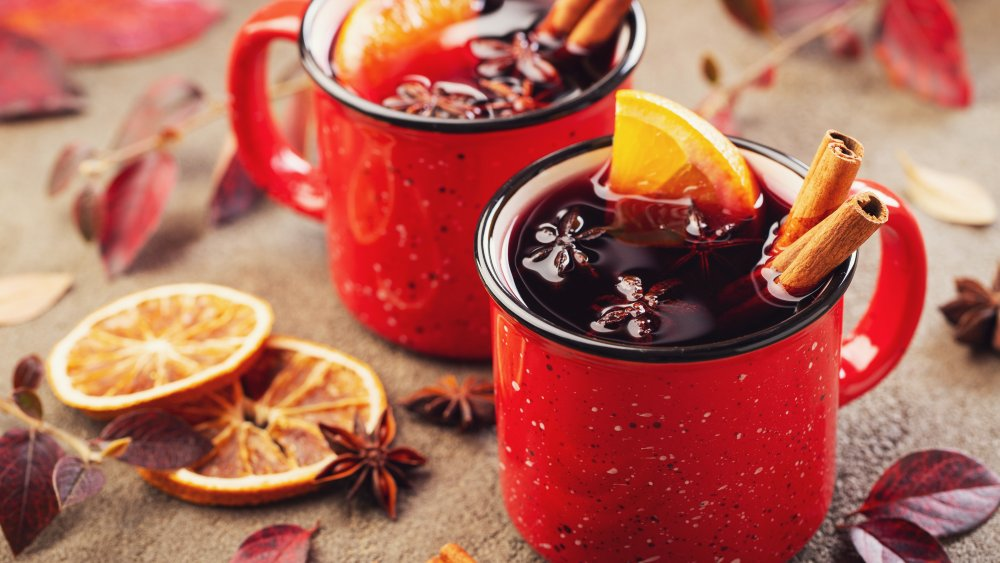 Christmas spiced wine and decorations