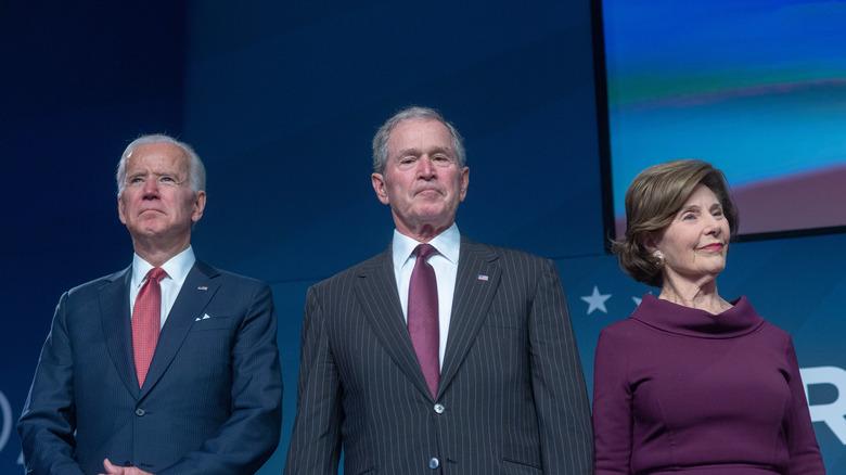 Joe Biden, George W Bush, and Laura Bush